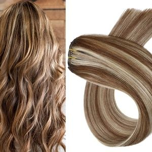 "18"" Human Hair Clip in Extensions 70 Grams #6/613"